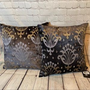 Mod Bold Ikat Velvet Embroidery Pillows Set of 2
